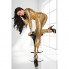 Sexy Cool Car Show Girl style Deep V-Neck Jumpsuit moulante - Golden