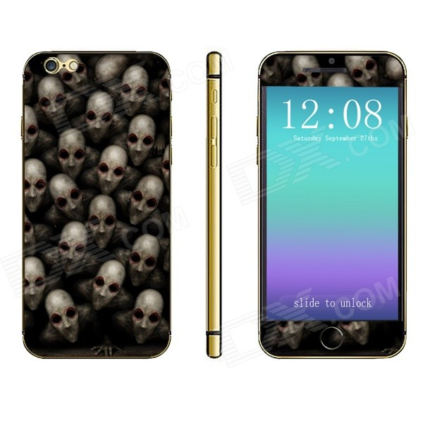 Stylish Skull Pattern Front + Back Decorative Sticker Set for IPHONE 6 PLUS 5.5 - Black + Gray
