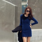 TSX-3110 Women's Fashion Round Neck Long Sleeves Render Dress - Blue (M)