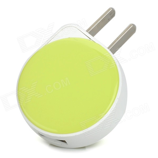 iznc znc-001 Universal USB AC Power Charger Adapter for IPHONE / IPAD - White + Green (US Plug) iznc znc 021 universal dual usb ac power charger adapter for iphone ipad white us plug