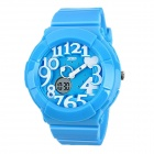SKMEI 1020 Children's 50M Waterproof Double Movement & Display Electronic Watch - Blue + White