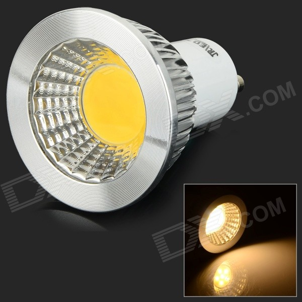 JRLED GU10 3W 300lm 3200K COB LED Warm White Light Spotlight - White + Transparent (AC 85~265V)