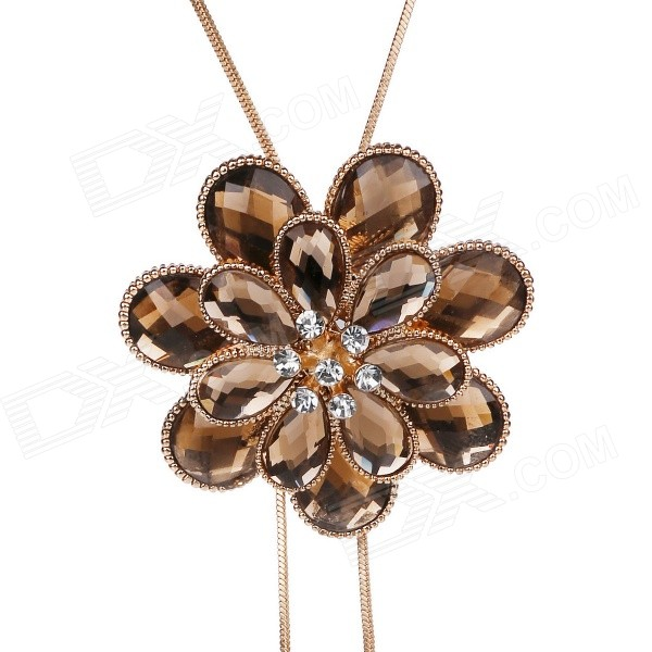 eQute Women's Fashionable Heronsbill Rhinestone Studded Pendant Necklace - Coffee rhinestone pendant chain necklace
