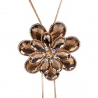 eQute Women's Fashionable Heronsbill Rhinestone Studded Pendant Necklace - Coffee