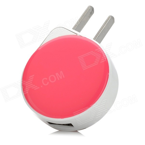 iznc znc-001 Universal USB AC Power Charger Adapter for IPHONE / IPAD - White + Deep Pink (US Plug) iznc znc 021 universal dual usb ac power charger adapter for iphone ipad white us plug