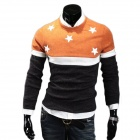 Men's Fashionable Stars Embroidered Splicing Cotton Blend Sweater - Orange + Black (XL)
