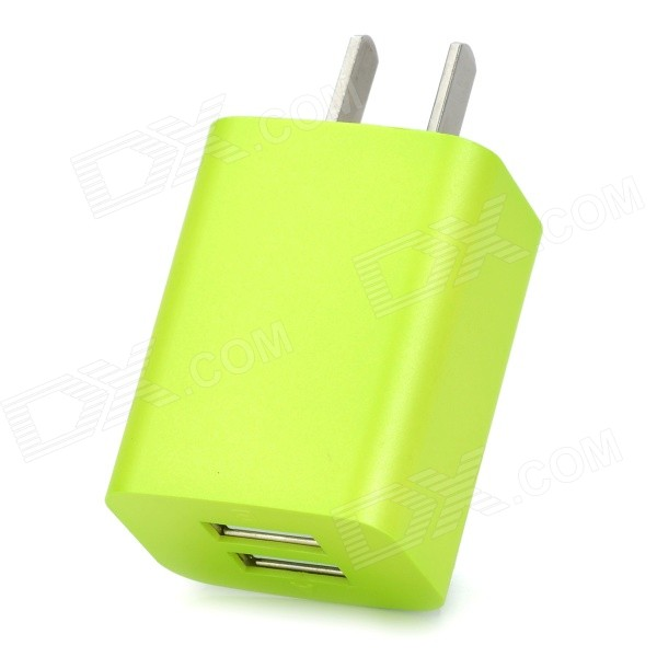 iznc znc-021 Universal Dual-USB AC Power Charger Adapter for IPHONE / IPAD - Green (US Plug) iznc znc 021 universal dual usb ac power charger adapter for iphone ipad white us plug