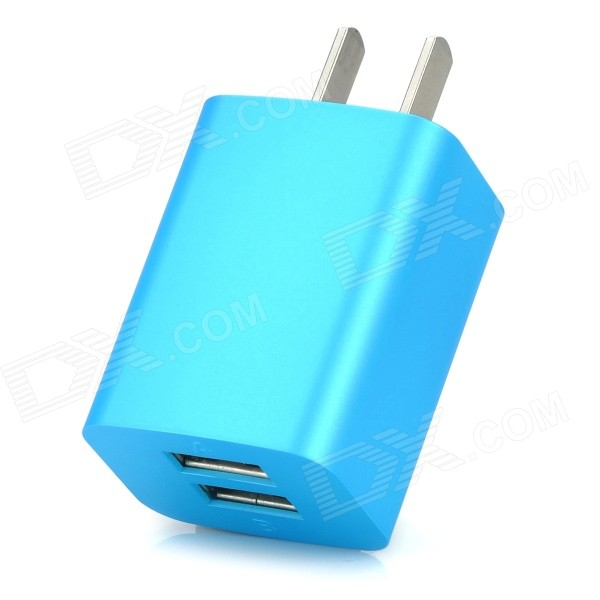 iznc znc-021 Universal Dual-USB AC Power Charger Adapter for IPHONE / IPAD - Blue (US Plug) iznc znc 021 universal dual usb ac power charger adapter for iphone ipad white us plug