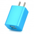 iznc znc-021 Universal Dual-USB AC Power Charger Adapter for IPHONE / IPAD - Blue (US Plug)