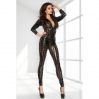 Sexy Cool Car Show Girl Estilo profunda V-Neck Bodycon Jumpsuit - Preto