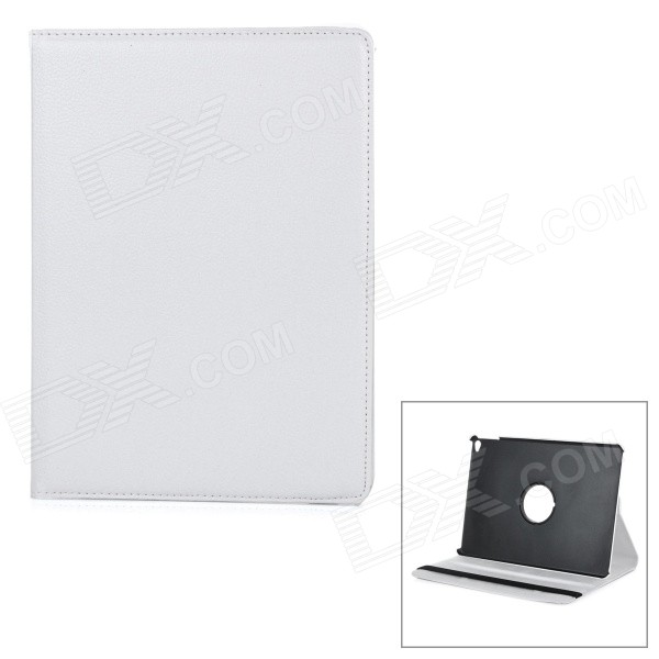 Protective Flip-Open PU Case Cover w/ 360' Rotary Stand for IPAD AIR 2 - White nice soft silicone back magnetic smart pu leather case for apple 2017 ipad air 1 cover new slim thin flip tpu protective case