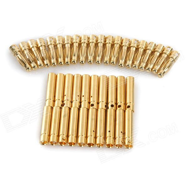 Universal Models DIY 4.0mm Male + Female Copper Plated Banana Connector Set - Golden (20 Pairs) 10 piece new part kq2h10 03s smc fitting male connectors