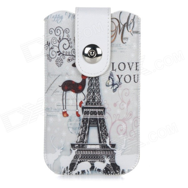 Eiffel Tower Pattern Protective PU Pouch Case w/ Pull Strap for IPHONE 6 - White + Grey + Multicolor