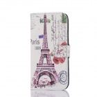 DF-005 Tower Pattern Protective PU Case w/ Card Slot / Stand for HTC One / M8 - Multicolored