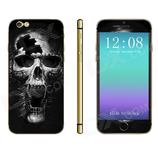 Stylish Skull Print Front + Back Decorative Sticker Set for IPHONE 6 PLUS 5.5 - Black + Gray