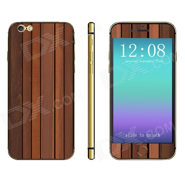 Stylish Batten Pattern Front + Back Decorative Sticker Set for IPHONE 6 PLUS 5.5 - Wood