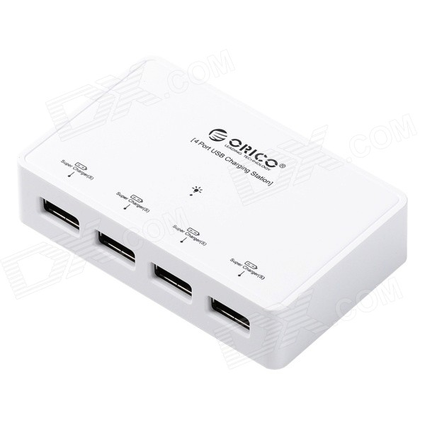 ORICO DCP-4S-BK 4 x 2.4A 4-port USB Output Super Charger for Tablet PC / Cellphone - White (US Plug) vina ups 001 intelligent 4 port usb 2 0 fast charger