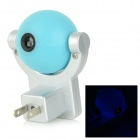 5W Light Control Revolvable LED Projection Lamp Night Light - Silver + Blue (AC 220~240V / US Plug)