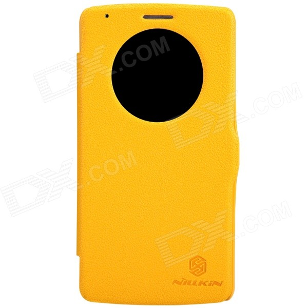 NILLKIN Fresh Series Protective Flip Open PU Leather + PC Case for LG G3 - Yellow protective pu pc flip open case cover for ipad mini red