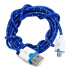 Micro USB Male to USB Male Braided Round Charging & Data Sync. Cable - Deep Blue (190cm)