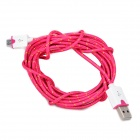 Micro USB Male to USB Male Braided Round Charging & Data Sync. Cable - Deep Pink + White (300m)