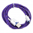 Micro USB Male to USB Male Braided Round Charging & Data Sync. Cable - Purple + White (190cm)