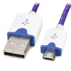 Micro USB M to USB M Braided Charging Cable - Purple + White (190cm)