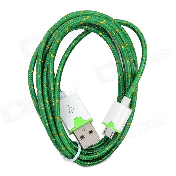Micro USB Male to USB Male Braided Round Charging & Data Sync. Cable - Green + White (190cm) micro usb male to usb male braided round nylon charging data cable deep pink white 2m