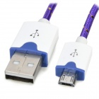 Micro USB Male to USB Male Braided Round Charging & Data Sync. Cable - Dark Purple + White (300m)