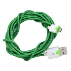 Micro USB Male to USB Male Braided Round Charging & Data Sync. Cable - Green + White (300cm)