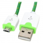 Micro USB M to USB M Braided Nylon Charging Cable - White + Green (3m)