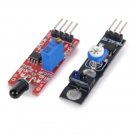 2-in-1 Line Tracking Sensor + Flame Detection Sensor Modules Set - Black + Red