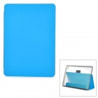 Protective PU + PC Case w/ Stand / Card Slots for IPAD AIR 2 - Blue + Transparent