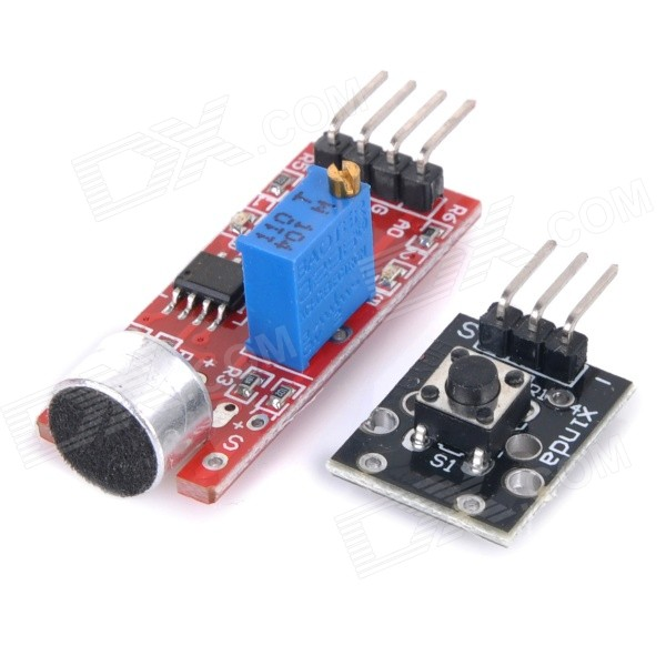 2-in-1 High-Sensitive Microphone Sensor + Button Modules Set - Black + Red