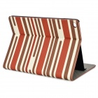 Stripe Pattern Protective PU Leather Case w/ Stand for IPAD AIR 2 - Brown + Dark Red + Beige