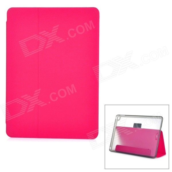 Protective PU + PC Case w/ Stand / Card Slots for IPAD AIR 2 - Deep Pink + Transparent lichee pattern protective pu pc full body case w stand for ipad air 2 3 4 pink
