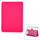 Protective PU + PC Case w/ Stand / Card Slots for IPAD AIR 2 - Deep Pink + Transparent