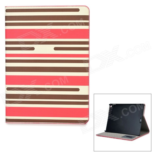 Stripe Pattern Protective PU Leather Case w/ Stand for IPAD AIR 2 - Brown + Deep Pink + White wood pattern protective pu full body case w stand auto sleep for ipad air dark red pink