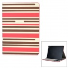 Stripe Pattern Protective PU Leather Case w/ Stand for IPAD AIR 2 - Brown + Deep Pink + White