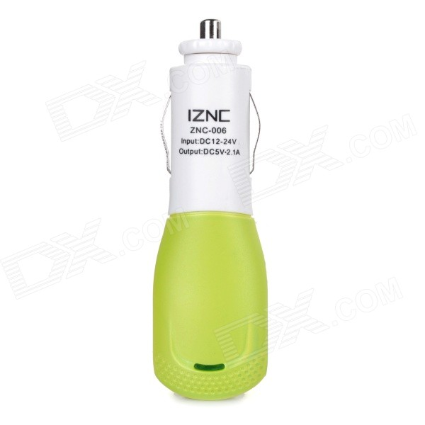 iznc znc-006 Universal Quick Charging 2A USB Port Car Charger Power Adapter - White + Green universal 3 port usb car charger adapter white sky blue
