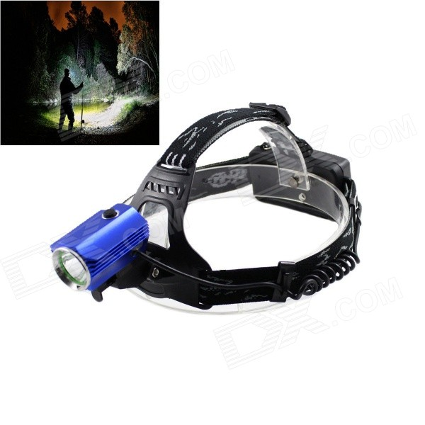 Kinfire 700lm 3-Mode White Outdoor LED Headlamp - Black + Blue (2 x 18650) boruit 3 led 800lm 4 mode white headlamp black silver 1 2 x 18650