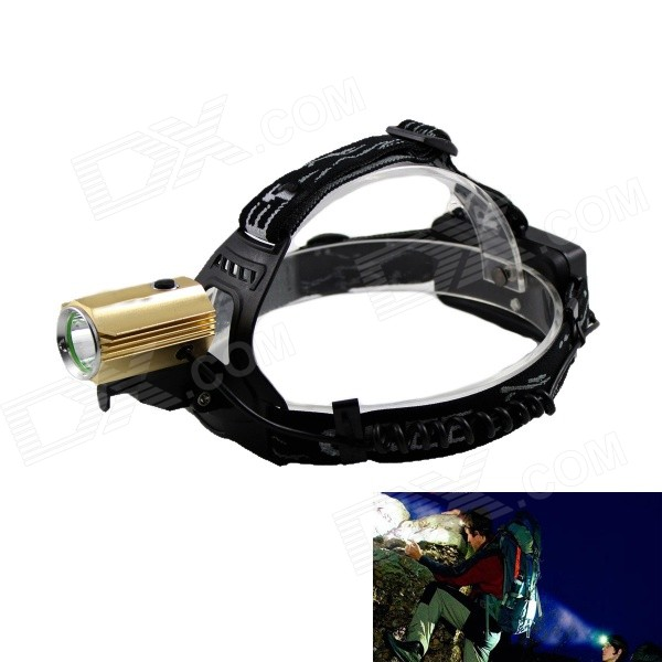Kinfire 700lm 3-Mode White Outdoor LED Headlamp w/ Compass - Black + Golden (2 x 18650) boruit 3 led 800lm 4 mode white headlamp black silver 1 2 x 18650