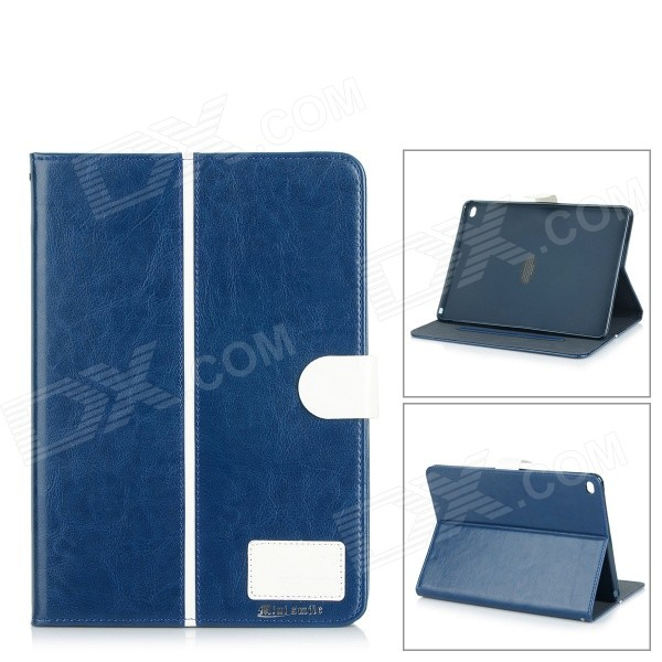Protective Flip-Open PU + TPU Case w/ Stand / Card Slots for IPAD AIR 2 - Dark Blue protective flip open pu case cover w stand card slots for ipad air 2 blue beige multicolor