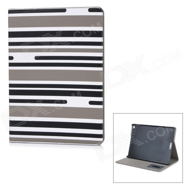 Protective Flip-Open PU Case Cover w/ Stand / Card Slots for IPAD AIR 2 - Black + White + Multicolor stripe pattern protective flip open pu case w card slot stand for ipad air 2 white multicolor