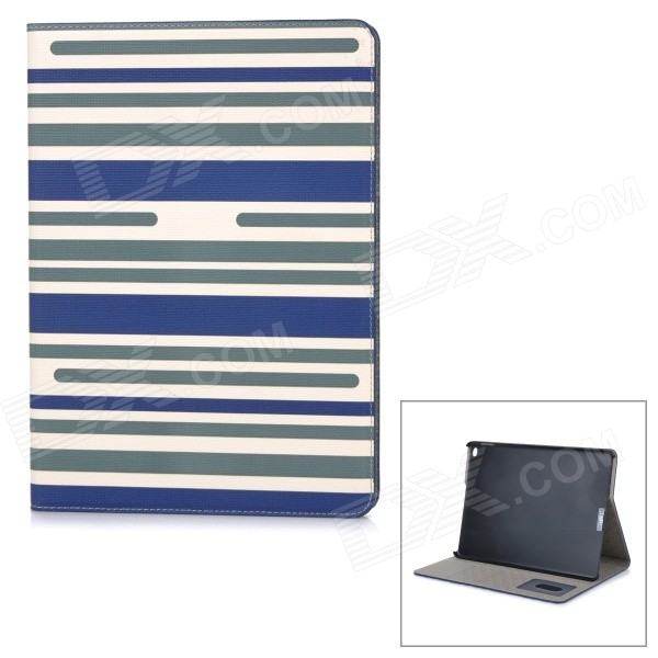 Protective Flip-Open PU Case Cover w/ Stand / Card Slots for IPAD AIR 2 - Blue + Beige + Multicolor stripe pattern protective flip open pu case w card slot stand for ipad air 2 white multicolor