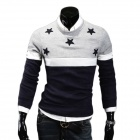 700-MJ11 Men's Fashionable Stars Embroidered Splicing Cotton Blend Sweater - Light Grey (M)