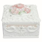 FEIS SH 003 Square Shaped Resin Rose Style Jewellery Box - White + Pink