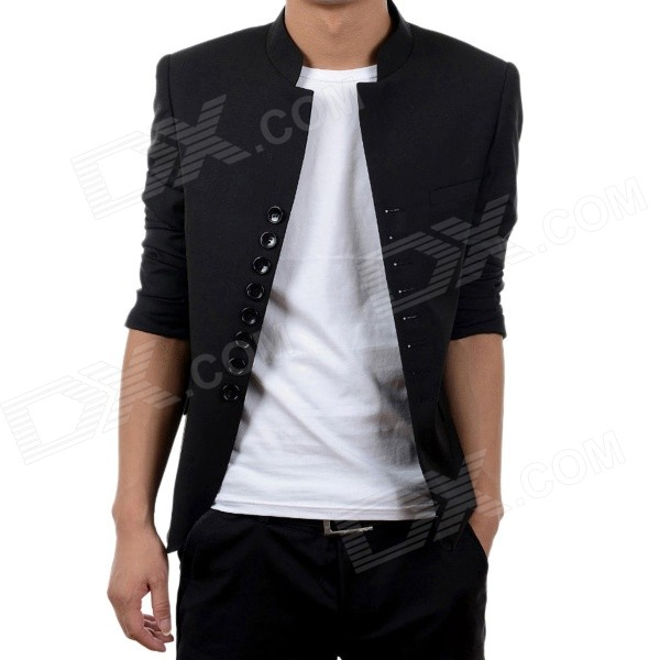 X990 Autumn and Winter Fashionable Chinese Style Retro Eight Buckle Stand Collar Jacket - Black (XL)