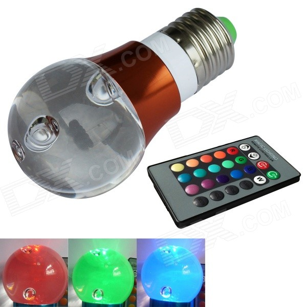 JIAWEN® 3W E27 LED RGB Light Remote Control Crystal Lamp - White + Reddish Brown (AC 100~220V) dhl free shipping factory wholesale super bright 38leds cordless battery remote control 16 colors change led light kit