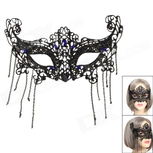 Women's Sexy Seductive Lace Mask for Halloween Costume Makeup Party - Black